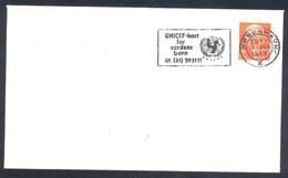 Denamrk 1977 Cover; United Nations UNO UN Unicef Card For The World's Born Slogan Cacnellation