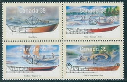 CANADA 1990 Small Craft 2nd Series (Se-tenant Block Of 4v), XF MNH, MiNr 173-6, SG 1377a