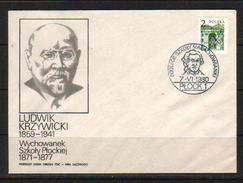 POLAND FDC 1980 800TH ANNIV MALACHOWIANKI SCHOOL PLOCK  KRZYWICKI Polish Anthropologist Economist Sociologist Education