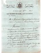 Le Maire D'ALBI,TARN à Monsieur Pezous Juge Président Du Tribunal Civil D'Albi.Document Manuscrit Signé:DUFAY - Documents Historiques