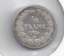 Leopold I 1/4 Frank Zilver Gelauwerd 1835  FRAAI +  -  M36 - 1831-1865: Léopold I