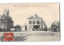 CPA 28 Dreux Place De La Gare Le Depart Du Train Tramway Ligne De Dreux Senonches - Dreux