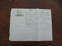 Connaissement Illustré Malta Malte 1861 Cagliaterro E Sigli Vers Tunis En Italien Coppa 27.2 X 21 - Italie