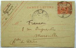 Tunisie Carte Lettre  1907 Bizerte --> Marseille, Affr. 10c Tad Ambulant Bizerte à Marseille - Tunisie (1888-1955)