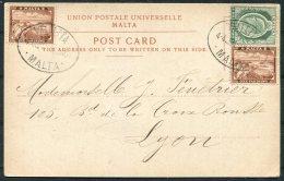 1904 Malta Custom House Postcard Valletta - Lyon, France.