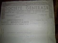 Action Part Beneficiaire Societe Generale A Paris Annee 1946 - Actions & Titres