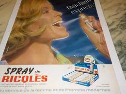 ANCIENNE PUBLICITE SPRAY DE RICQLES  1965 - Posters