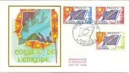 19D6 ---   France   Conseil De L´Europe 0,60 0,80 Et 1,20     1er Jour    FDC  Thème Drapeau