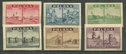 POLAND MNH ** 455-460 Vues Diverses De Varsovie Avant Et Après Le Bombardement, Chateau Cathedrale église