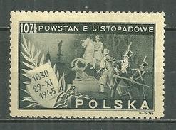 POLAND MNH ** 461 ANNIVERSAIRE INSURRECTION DE 1830, Cheval, Armure Statue De Sobieski Roi - 1944-.... République