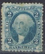 Sello 2 Ctvos Washington, U.S. Inter Rev. 1866, Bankcheck, Fiscal º - Revenues