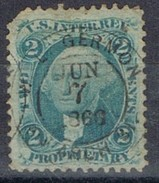 Sello 2 Ctvos Washington, U.S. Inter Rev. 1866, Propietary, Fiscal º - Revenues