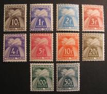 LOT R3586/510 - 1946 - ANDORRE FRANCAIS - TIMBRES TAXE N°32 à 41 NEUFS ** (N°35 NEUF *) - Cote : 234,25 €
