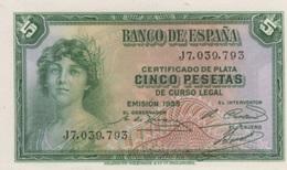 (B0606) SPAIN, 1935. 5 Pesetas. P-85. UNC - [ 2] 1931-1936 : Republic