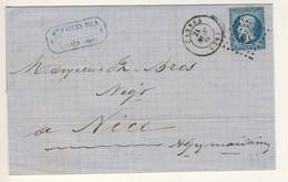 (C19) - Y&T N°14 - LETTRE CANNES => NICE 1860  - PC 601