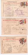 LOT DE 3 CARTES EN FRANCHISE  AVEC DRAPEAUX  DIFFERENTES   CORRESPONDANCES DES ARMEES DE LA REPUBLIQUE   VOIR 2 SCANS