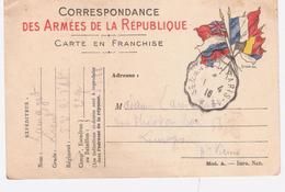 RARE CACHET AMBULANT  PARIS 1.4.16 SUR CARTE EN FRANCHISE DRAPEAUX  Pour Limoges  1 PLI Voir 2 Scans