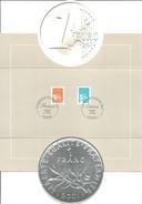 Carte Souvenir Le Passage à L'Euro Avec Marianne De Luquet En Franc Et En Euro Et Cachets Commémoratifs - Voir Scans