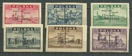 POLAND MNH ** 476 A-F Anniversaire De La Libération De Varsovie, Surcharge Varsovie Libre 17 Janvier 1945-46