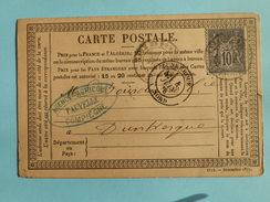 SAGE 89 SUR PRECURSEUR DES CARTES POSTALES DE COMPIEGNE A DUNKERQUE DU 4 JUIN 1878