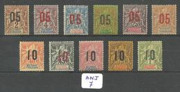 ANJ YT 20 à 30 X ( 22 (A) ) - Anjouan (1892-1912)