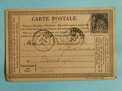 SAGE 89 SUR PRECURSEUR DES CARTES POSTALES DE BEAUVAIS A DUNKERQUE DU 3 SEPTEMBRE 1878