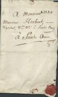 Marque LILLE SUR LAC Pour Saint Omer Le 7/04/1772, + Cachet Héraldique Rouge  - Aoa10203