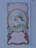 CHROMO DECOUPIS Gaufré Grand Format: FILLETTE Bébé Lecture Parchemin Fleur Dorure - Carton épais - Children