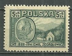 POLAND MNH ** 480 Emile Zegadlowicz écrivain Litérature Maison Natale Portrait