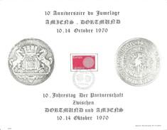 Document Souvenir 10ème Anniversaire Du Jumelage Amiens - Dortmund Avec Cachet Commémoratif Du 11 Octobre 1970