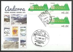 ANDORRA CORREO ESPAÑOL SOBRE  ETIQUETAS YA NO EN VENTA EN ANDORRA MATASLLOS ESPECIAL Y EUROPA P.D.(S-1.C.5.17)