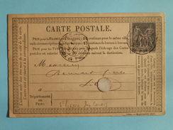 SAGE 89 SUR PRECURSEUR DES CARTES POSTALES DE ST PIERRE LES CALAIS A LILLE DU 30 JUILLET 1878