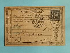 SAGE 89 SUR PRECURSEUR DES CARTES POSTALES DE AMIENS A DUNKERQUE DU 18 MAI 1878