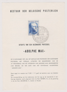 Feuillet Poste FDC 1037 Adolphe Max
