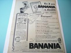ANCIENNE PUBLICITE EN 2 ANS  BANANIA  A DOUBLE SES VENTES 1955 - Posters