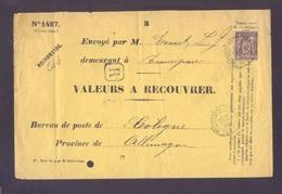 Recouvrement Enveloppe N°1487 Tad BEAUREPAIRE ISERE 16/12/1894 Sur 25 C Sage(trou épingle) Recommandé Pour Allemagne TTB