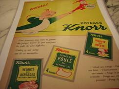 ANCIENNE PUBLICITE VELOUTE POTAGE SOUPE  DE KNORR 1953 - Posters