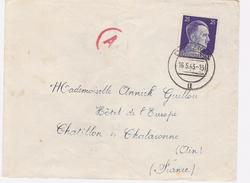 CACHET DANZIG 16.5.43 Avec Censure Ae + TIMBRE HITLER + N° AU DOS Pour  Chatillon Et Chalaronne    Ain  Voir 2 Scans