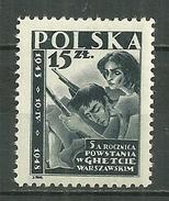 POLAND MNH ** 513 Anniversaire De La Résistance Aux Nazis Du Ghetto De Varsovie, Insurgés, Arme