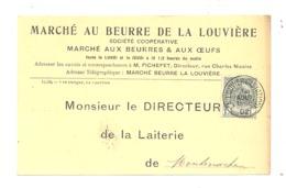 Carte Pré Imprimée Avec Le Prix Du Beurre Au Marché Au Beurre De La Louvière En 1902- Montenaken (pog) - La Louvière