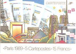 Entier Postal 2579-CP1 à 2583- CP1 Lot De 5 Différents, Sous Blister D'origine PARIS 1989 - PAP - Prêt à Poster