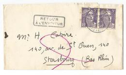 GANDON 5FR VIOLET X2 ANNECY 1953 BANDE COMPLETE POUR STRASBOURG + GRIFFE LINEAIRE AU DOS + VOIE INCONNUE