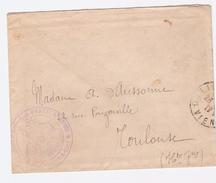 CACHET Violet HOPITAL  BENEVOLE  140BIS BON PASTEUR  LIMOGES   MEDECIN CHEF  Enveloppe Pour Toulouse  1917 Voir Scan