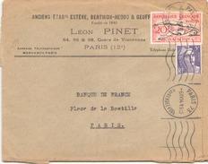 FRANCE ENVELOPPE A BORDS COUPES A EN TETE DU 6 AVRIL 1954 DE PARIS A PARIS LEON PINET - France