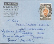 NIGERIA AEROGRAMME DU 24 DECEMBRE 1954 DE SOKOTO POUR RENNES