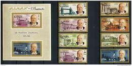 348c - Ajman MNH ** Mi N° 117 / 124 B + Bloc 10 B Winston Churchill Overprint Non Dentelé (imperforate)