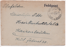 Germany 1943, Camberg (Nassau), Feldpost With Interesting  Cancel/stempel  4.10.1943, On Cover To Kaiserslautern