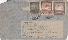STORIA POSTALE  - CILE- POSTA AEREA  BUSTA VIAGGIATA - UNA POLIZZA - VITA ISTIUITO NAZIONALE ASSICURAZIONI  - 1948 - Chile