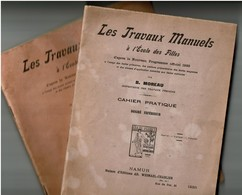1923, Les Travaux Manuels à L'Ecole Des Filles, Cahier Pratique - Cahier D'école - Couture / Tricot - 48 Pages - 5 Scans - Buvards, Protège-cahiers Illustrés
