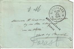 """Lettre Sans Contenu Envoyée En S.M. De St NICOLAS Le 21-VIII-1914 à VORST By BRUSSEL + """"Ongenaakbaar Terug"""""""